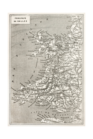 Wales Old Map. Created By Erhard And Duguay-Trouin, Published On Le Tour Du Monde, Paris, 1867 Posters by  marzolino