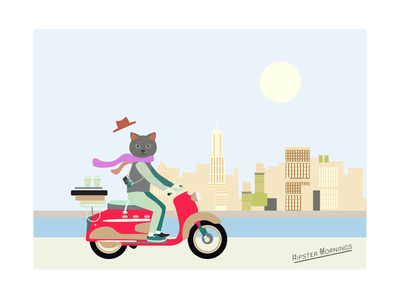 Fashionable Hipster Cat On A Vintage Scooter In A City- Illustration Prints by  run4it