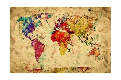 Vintage World Map Prints by PHOTOCREO Michal Bednarek