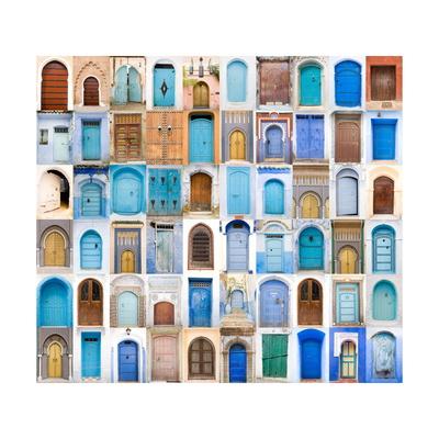 Very Old, Blue And Golden Doors Of Morocco Plakat af  charobna