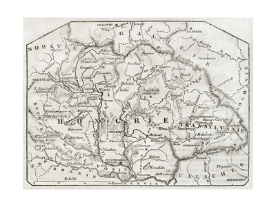 Old Map Of Hungary. By Unidentified Author, Published On Magasin Pittoresque, Paris, 1850 Print by  marzolino