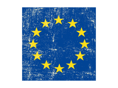 European Grunge Flag. A Square Flag Of European Union With A Texture Print by  TINTIN75