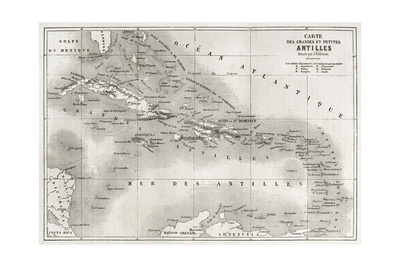 Antilles Old Map. Created By Vuillemin And Erhard, Published On Le Tour Du Monde, Paris, 1860 Prints by  marzolino