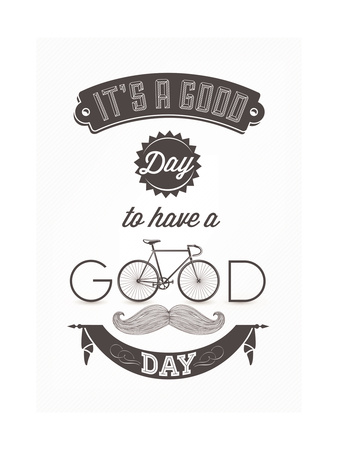 It'S A Good Day To Have A Good Day - Typographical Illustration Bicycle Poster Posters by  Melindula