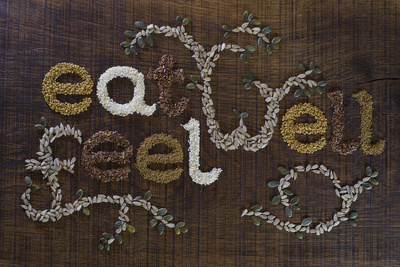 The Phrase 'Eat Well, Be Well', Written And Decorated In Seeds Prints by The Full 360