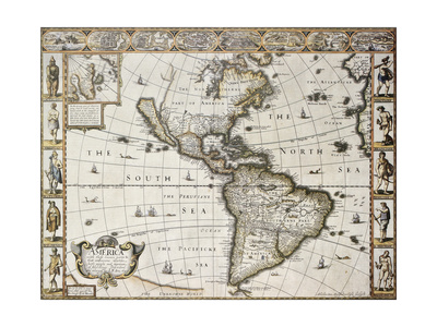 America Old Map With Greenland Insert Map. Created By John Speed. Published In London, 1627 Art by  marzolino