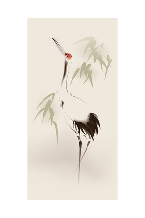 Oriental Style Painting, Red-Crowned Crane Póster por  ori-artiste