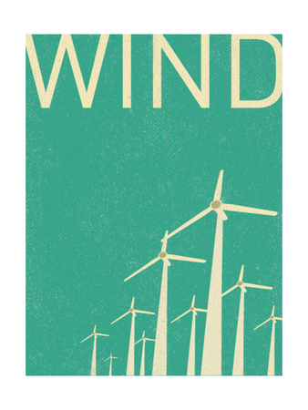 Retro Wind Turbines Illustration Posters by  norph