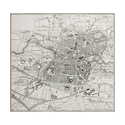 Old Map Of Nuremberg, Germany Posters by  marzolino