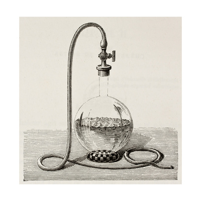 Old Illustration Of Laboratory Equipment For Water Boiling Under Vacuum Prints by  marzolino