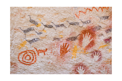 Ancient Cave Paintings In Patagonia, Argentina Prints by pablo hernan