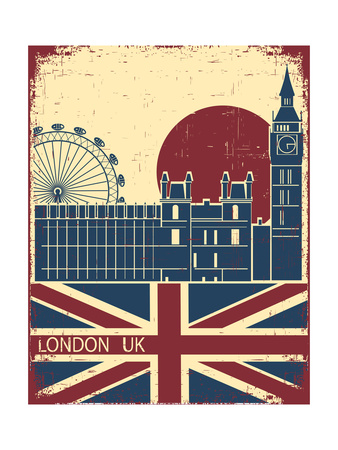 London Landmark.Vintage Background With England Flag On Old Poster Poster av  GeraKTV