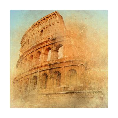 Great Antique Rome - Coloseum , Artwork In Retro Style Print by  Maugli-l