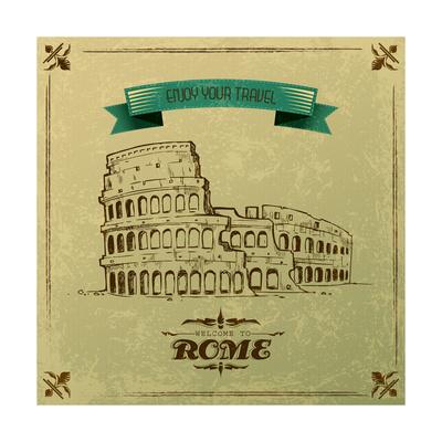 Roman Colosseum For Retro Travel Poster Art by  stockshoppe