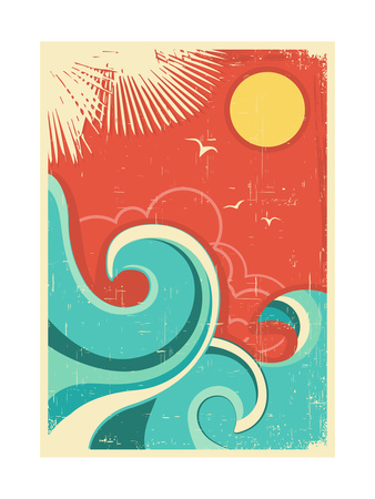 Vintage Tropical Background With Sea Waves And Sun Prints by  GeraKTV