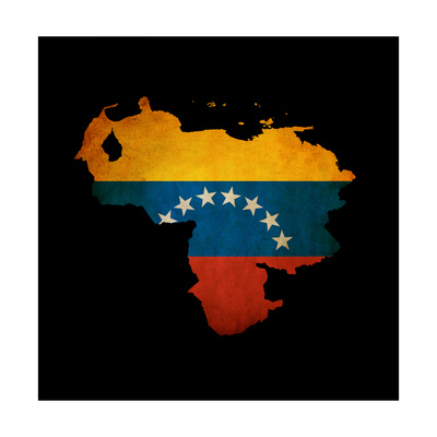 Outline Map Of Venezuela With Grunge Flag Insert Isolated On Black Prints by  Veneratio