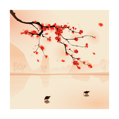 Oriental Style Painting, Plum Blossom In Spring Posters by  ori-artiste