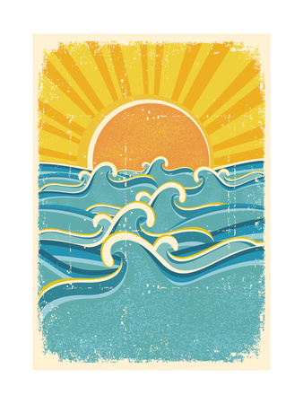 Sea Waves And Yellow Sun On Old Paper Texture.Vintage Illustration ポスター :  GeraKTV