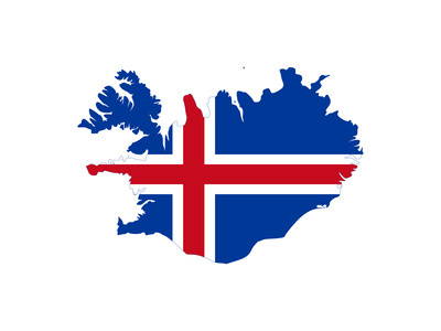 Illustration Of The Iceland Flag On Map Of Country; Isolated On White Background Art by  Speedfighter
