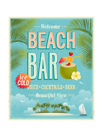 Vintage Beach Bar Poster Posters by  avean