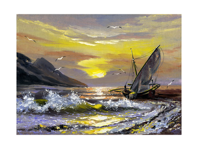 Sailing Boat In Waves On A Decline Poster by  balaikin2009