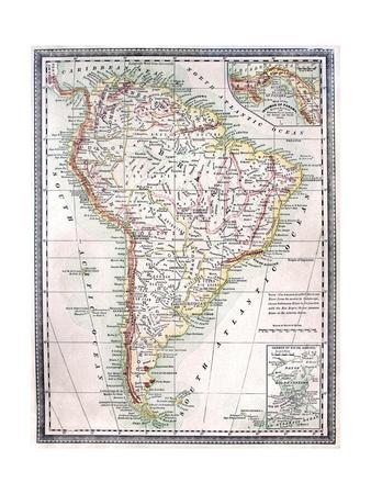 Old Karte von Südamerika Kunst von  Tektite