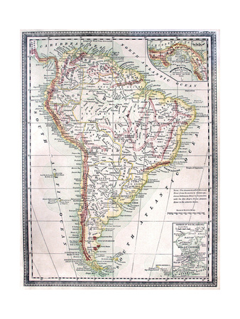 Old Map Of South America Art by  Tektite