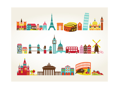 Travel And Tourism Locations Print by  Marish