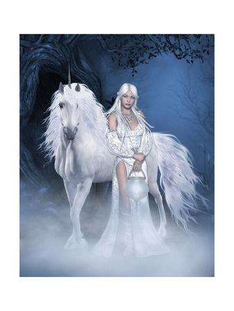 Unicorn And Beautiful Fairy Prints by  olbor