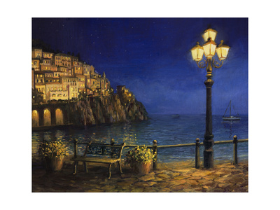 Summer Evening in Amalfi art print of Amalfi coast town on the italian coastline painting by kirilstanchev
