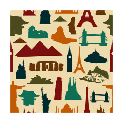 World Landmark Silhouettes Pattern Poster by  cienpies