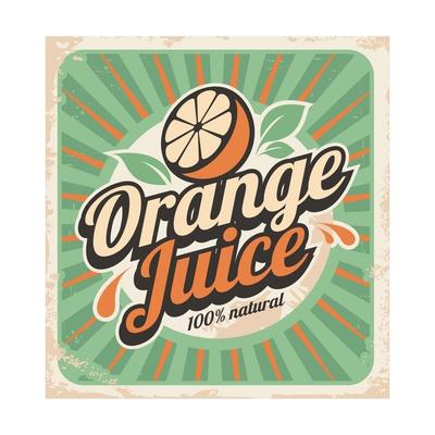 Orange Juice Retro Poster Print by  Lukeruk