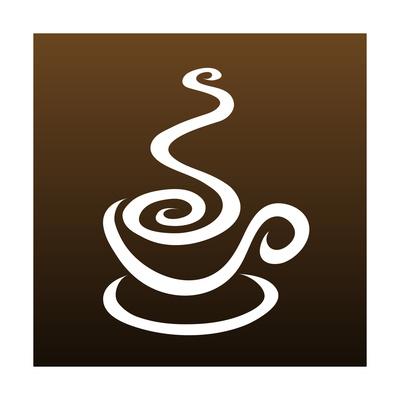 Line Art Coffee Isolated On Brown Kunstdrucke von  CIDEPIX
