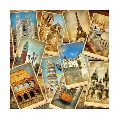 Vintage Collage - European Travel Poster by  Maugli-l