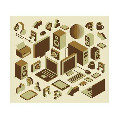 Isometric Media Element Set Prints by  photovs
