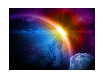Planet Earth With Sunrise In Space Prints by  alanuster
