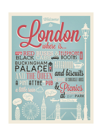 London Typographical Background Posters by  Melindula