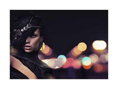 Fashion Lady Over City Background Prints by  conrado