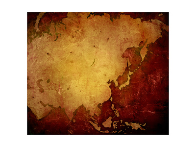 Aged Asia Map-Vintage Artwork Prints by  ilolab