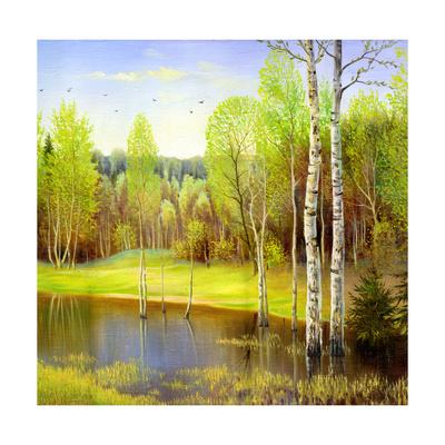 Autumn Landscape, Canvas, Oil Prints by  balaikin2009
