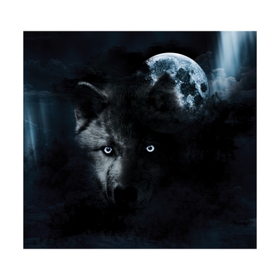 Wolf And Full Moon Print by  aliensprog