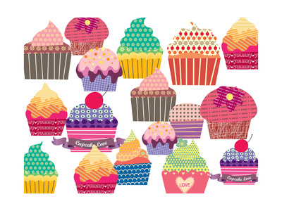 Set Of Sweet Cupcakes Poster by  minipop