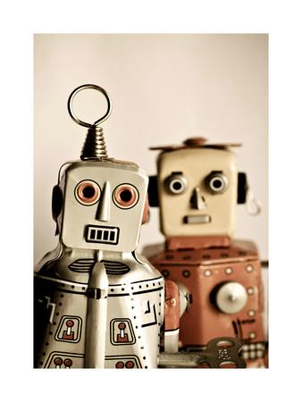 Two Retro Robot Toys Poster by  davinci