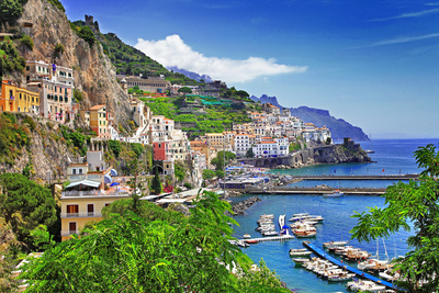 View Of Beautiful Amalfi, island photo, italy travel photo poster, international summer scenes photo poster
