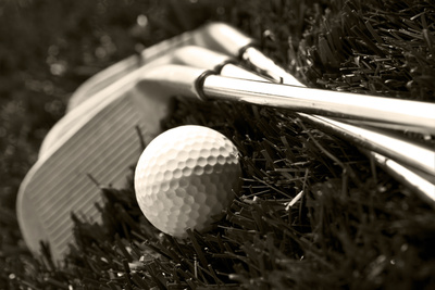 Black And White Photo Of Golf Clubs And A Golf Ball In Low Light For Contrast Photographic Print by  tish1