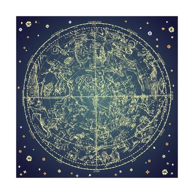 Vintage Zodiac Constellation Of Northern Stars Posters af Alisa Foytik