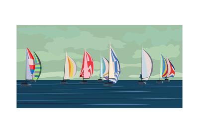 Sailing Yacht Regatta Poster by  Vertyr