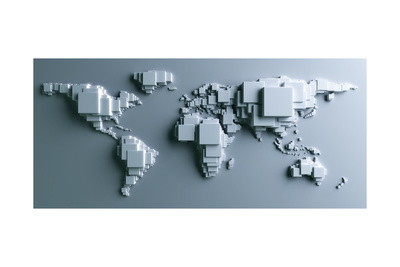3D Rendering Of The World Made Out Of Blocks Poster by  zentilia