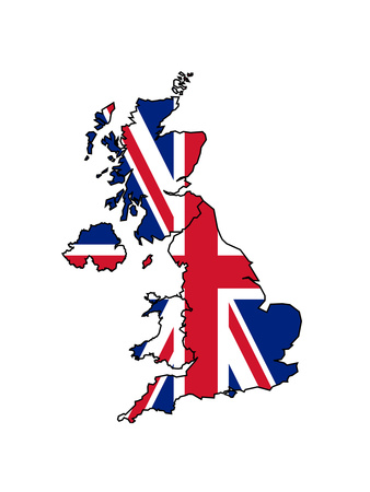 Uk Map With Flag Posters by  Speedfighter