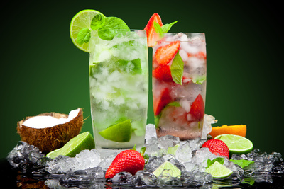 Fruit Cocktail With Dark Background Photographic Print by  Jag_cz